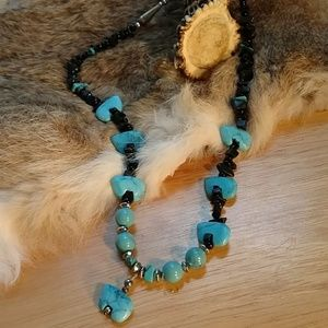 Turquoise and obsidian necklace